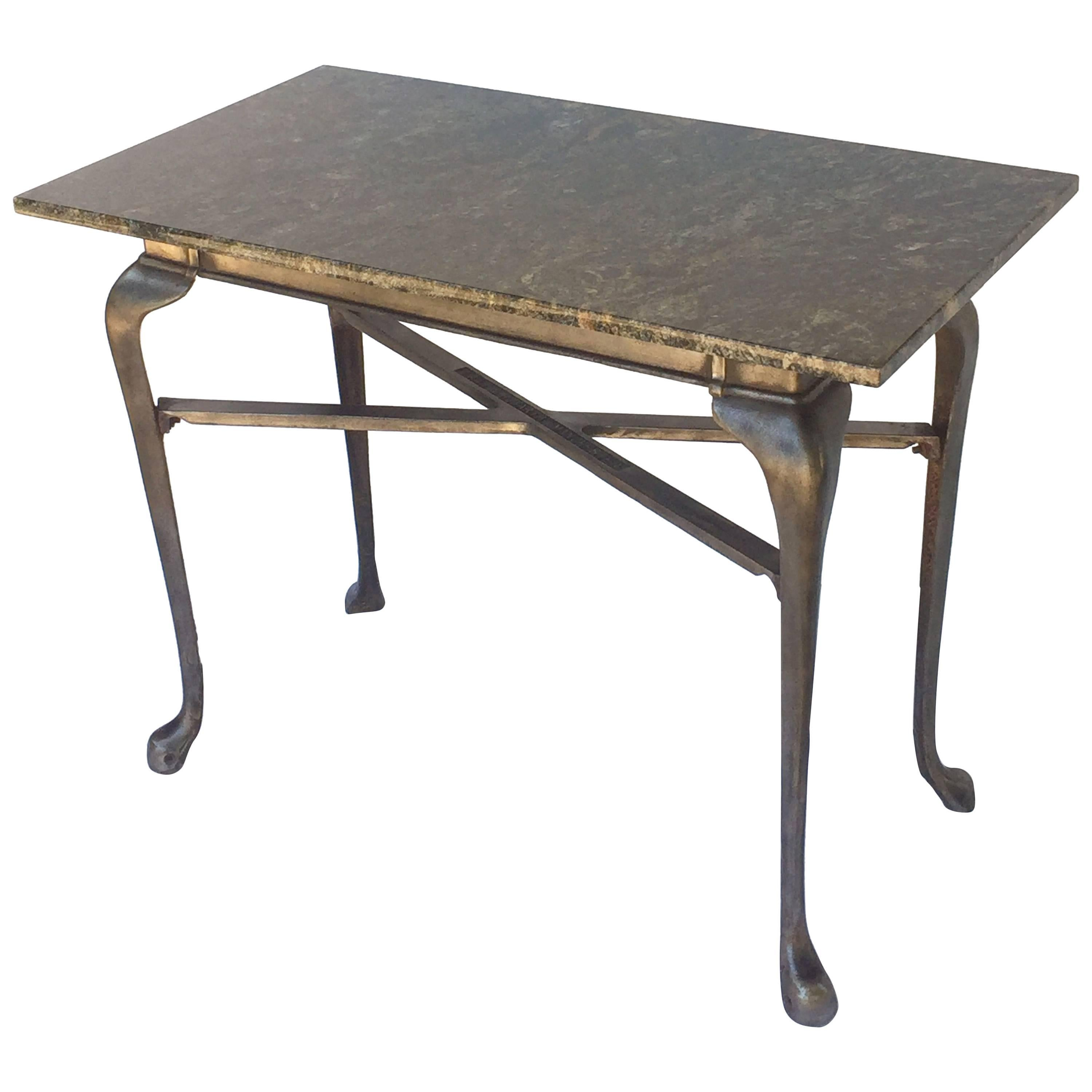 English Pub Bistro Table of Cast Iron with Granite Top