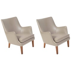 Pair of Arne Vodder Leather Lounge Chairs by Ivan Schlechter, Denmark, 1953