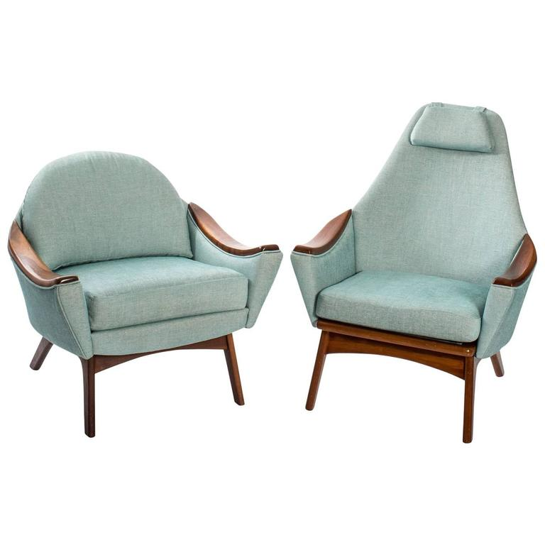 "Adrian Pearsall for Craft Association ""His and Hers"" Lounge Chairs For Sale"