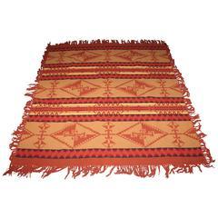 Rare Pendleton Cayuse Blanket or Shawl with Fringe, Dated 1909