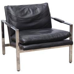 Milo Baughman Chrome Leather Chair