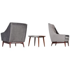 Hans Wegner Style His & Hers Grey Velvet Lounge Chairs and Foot Stool