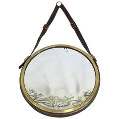 French Mid-Century Modern Neoclassical Leather Wrapped Mirror, Jacques Adnet