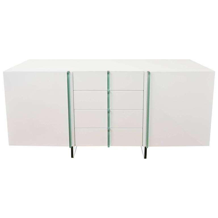 Vintage White Lacquered Wood and Glass Cabinet, Buffet or Console