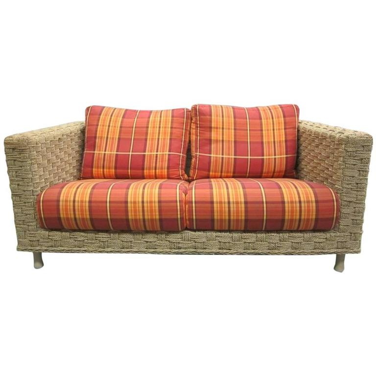 French Mid-Century Modern Rope Sofa Attributed to Adrien Audoux and Frida Minet