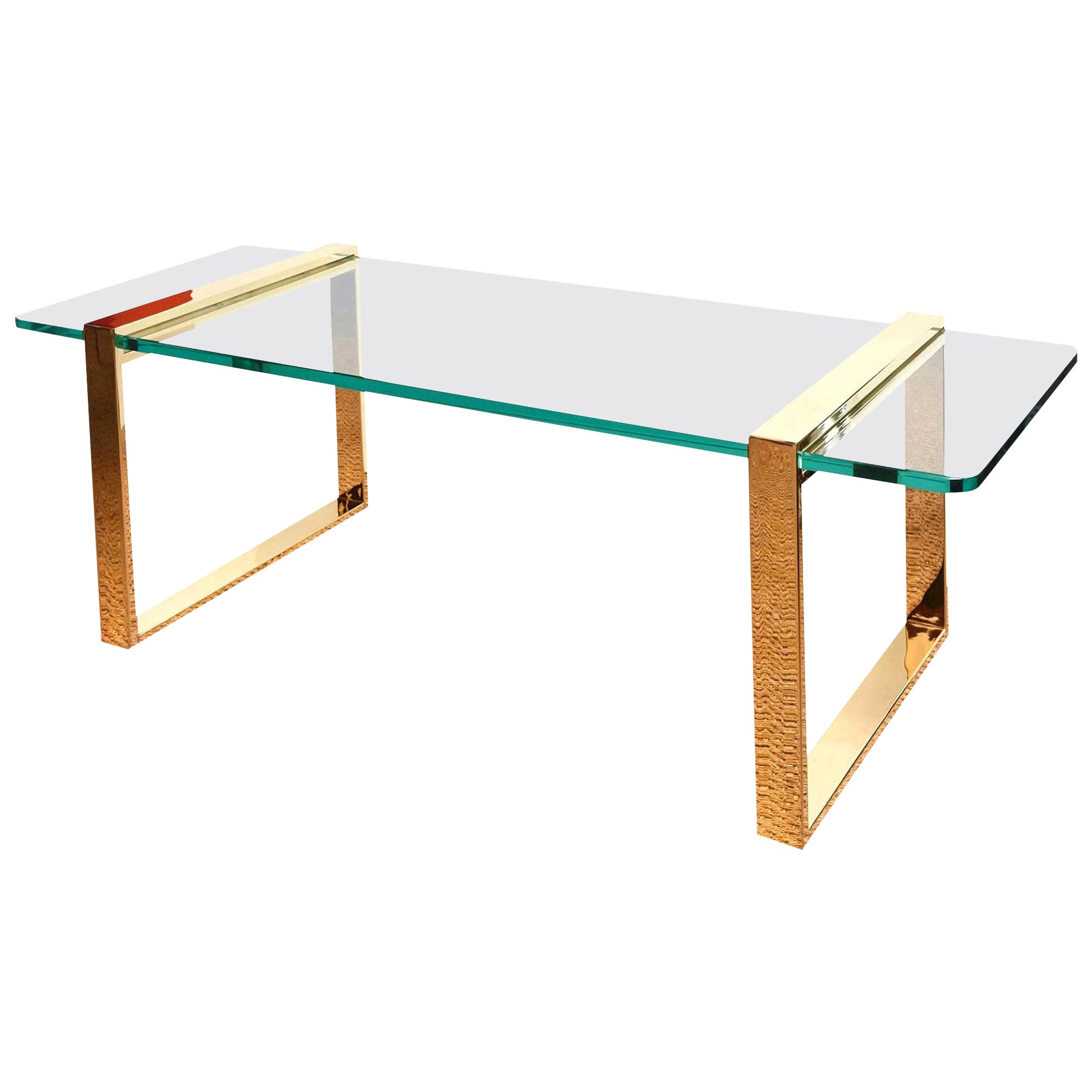 Leon Rosen for Pace Gold-Plated and Glass Sculptural Cocktail or Library Table