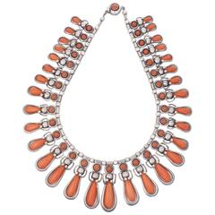 Coral and Silver Necklace by Frank Patania Sr., circa 1960