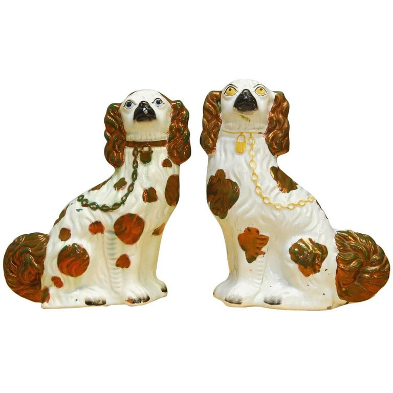 Pair of English Staffordshire Porcelain Dogs