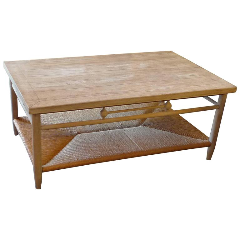 Newport 1980s Coffee Table With Rush Shelf At 1stdibs