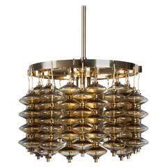 Brass and Amber Glass Chandelier by Hans-Agne Jakobsson, Swedish, Circa 1960