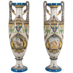 Pair of Tall Italian Ceramic Faience Vases