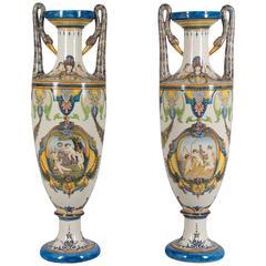 Pair of Tall Italian Faience Vases