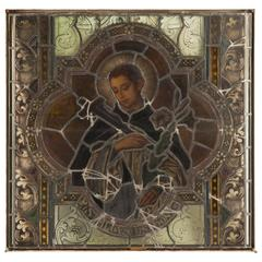 Stunning Hand-Painted and Stained Glass Window