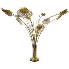 Contemporary Italian Fine Design Organic Brass Tree Sculpture Floor Lamp