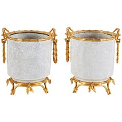 French Japonsime Ormolu-Mounted Chinese Crackle Glaze Porcelain Cachepots, Pair