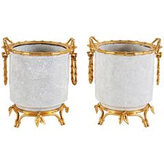 French Japonsime Ormolu-Mounted Chinese Crackle Glaze Porcelain Cahcepots, Pair