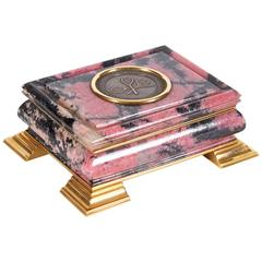18-Karat Gold-Mounted Russian Rhodonite Box for Tennis & Racquet Association