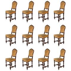 Set of 12, 19th Century Italian Dining Chairs