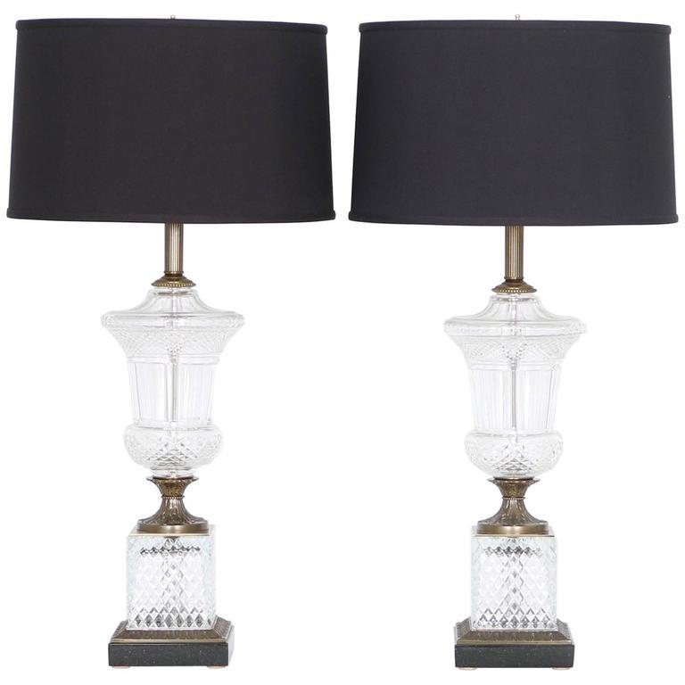 Paul Hanson Hollywood Regency Crystal Urn Lamps, Pair