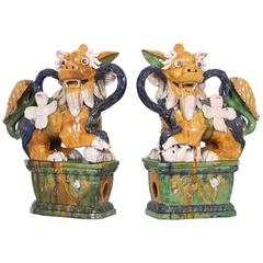 Pair of Early 20th Century Majolica Foo Dogs