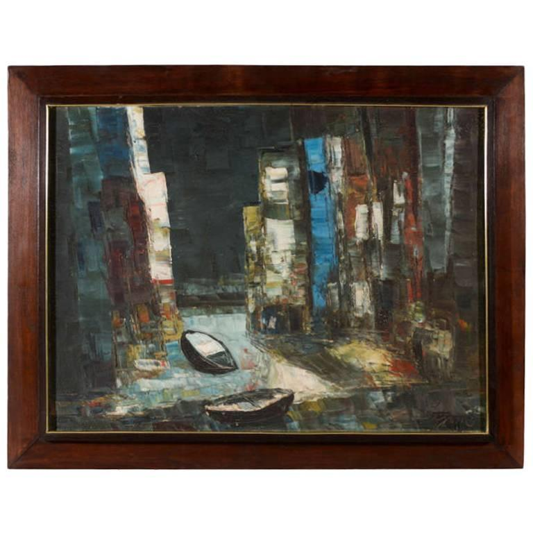 Vintage Abstract Painting of Rowboats in Original Wood Frame