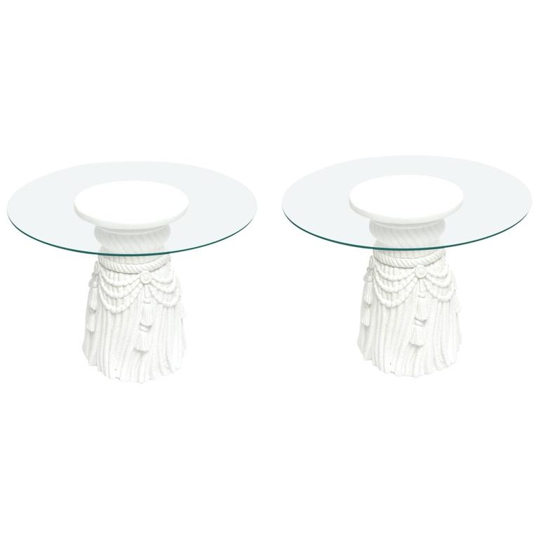 Dickinson Style Plaster of Paris White Draped Tasseled Sculptural Side Tables