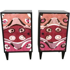 Contemporary Italian Pair of Black Lacquered and Rose Pink Leather Side Cabinets