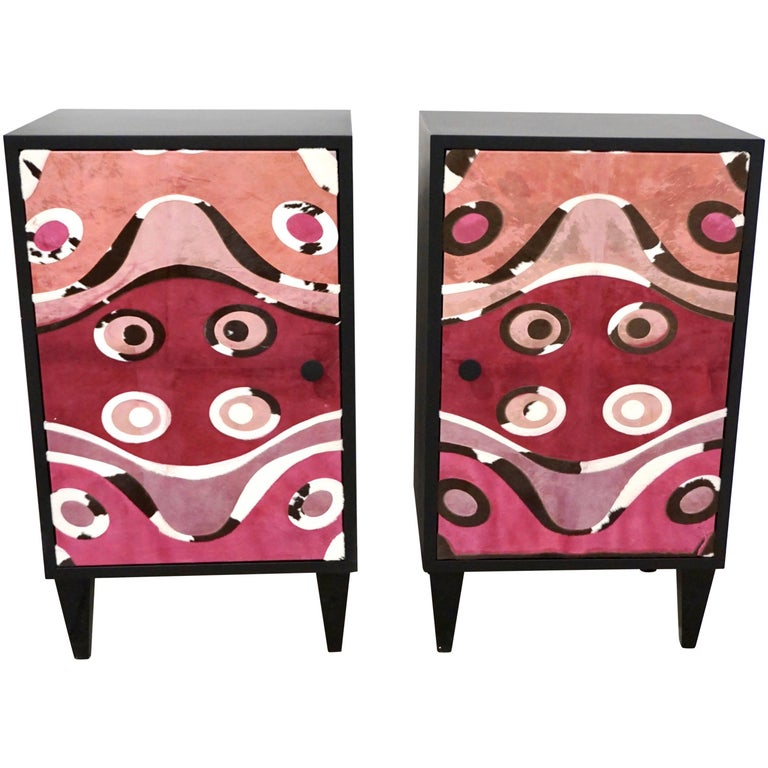 Contemporary Italian Pair of Black Lacquered and Rose Pink Leather Side Cabinets For Sale