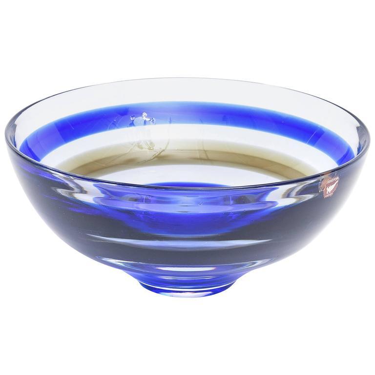 Signed Orrefors Vintage Banded Striped Crystal Glass Bowl For Sale