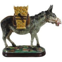 Majolica Donkey with Baskets Jerome Massier Fils, circa 1900