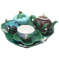 Majolica Minton Tea Set of Five Pieces, circa 1865
