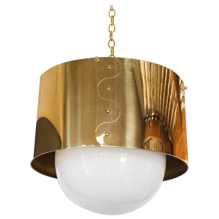 Mid-Century Brass Drum Restored Pendant or Chandelier For Sale