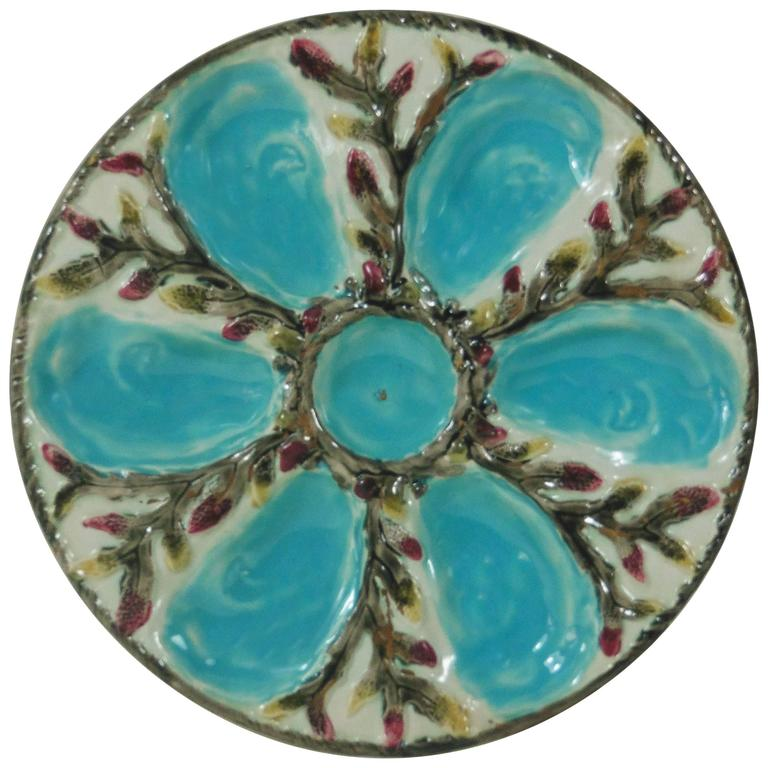 19th Century Majolica Turquoise and White Oyster Plate S.Fielding and Co