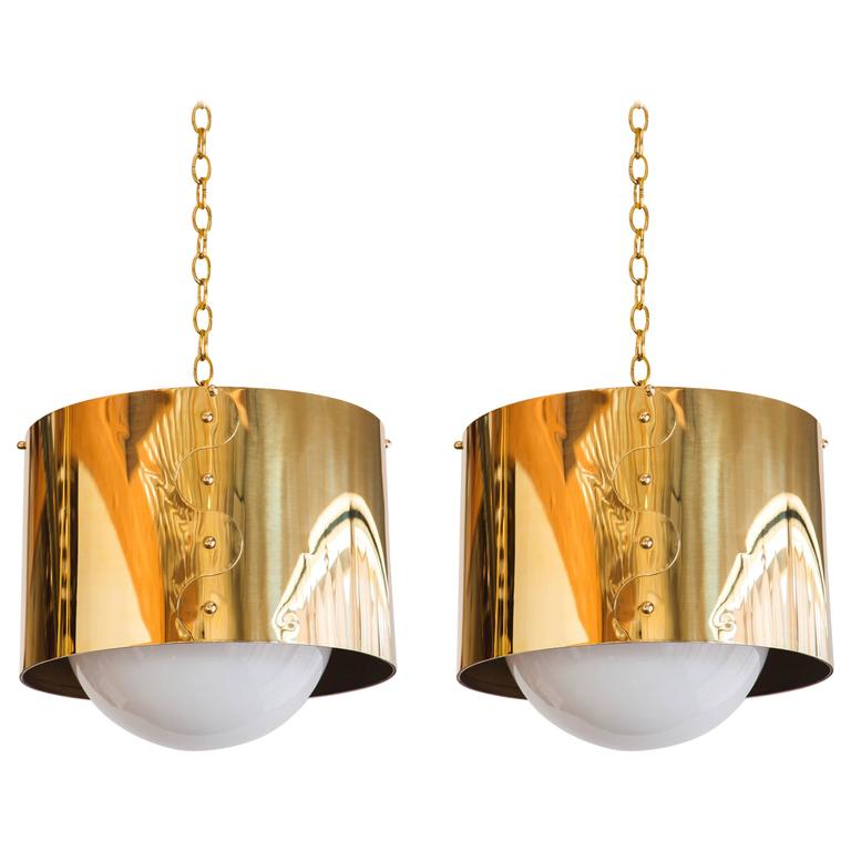 Mid-Century Pair of Brass Drum Restored Shaded Pendants
