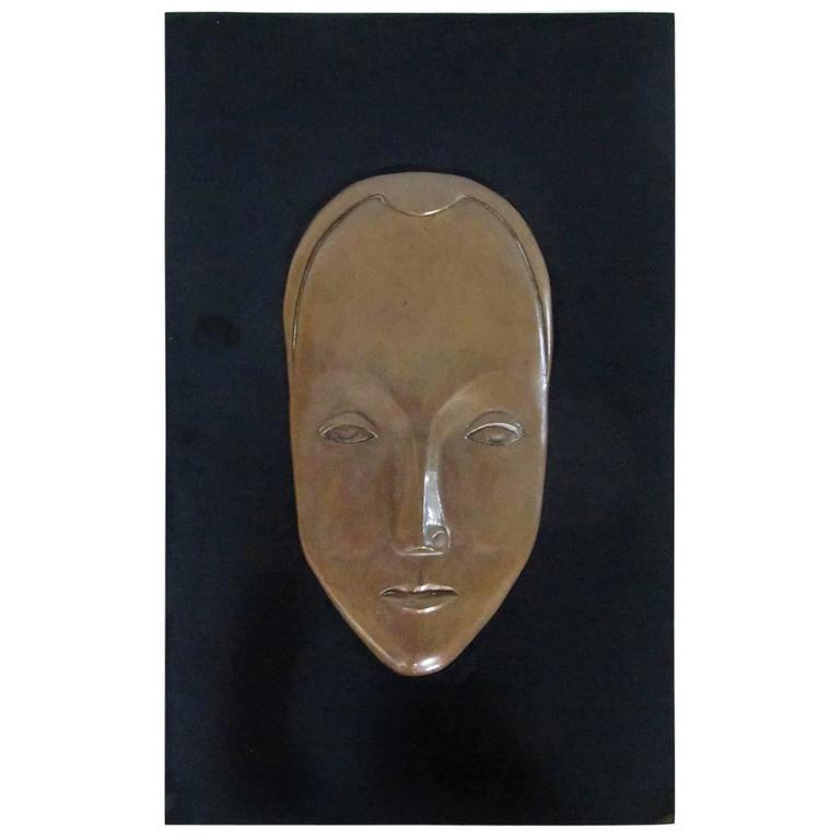 Art Deco Signed and Dated Bas Relief Bronze Mask 1