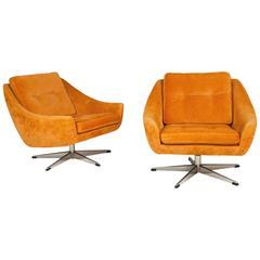 John Stuart Velvet Swivel Lounge Chairs, Pair, circa 1960
