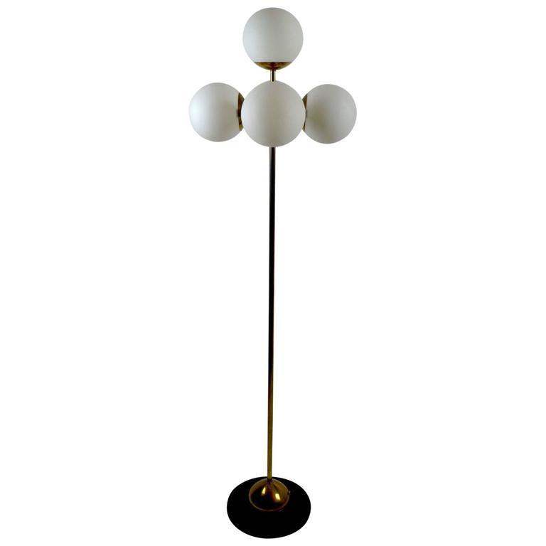 Five Globe Light Sputnik Floor Lamp in Brass and Black