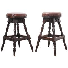 Pair of Late 19th Century English Oak Leather Top Pub Stools