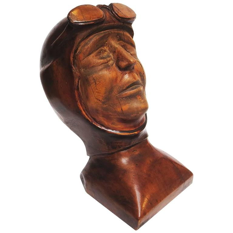 Stylized Art Deco Carved Bust of Aviator For Sale