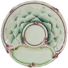 Majolica Artichoke Plate Sarreguemines, circa 1900