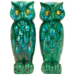 "Mid-Century Japanese Pair of Ceramic Glaze ""Google"" Eye Owl Vases By"