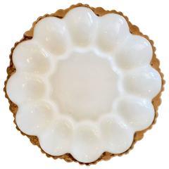 Vintage White Opalescent Milk Glass and 22 Karat Gold Deviled Egg Platter