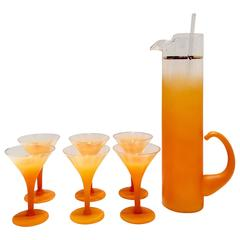 Vintage Orange Frosted Glass and 22 Karat Gold Eight Piece Martini Drinks Set