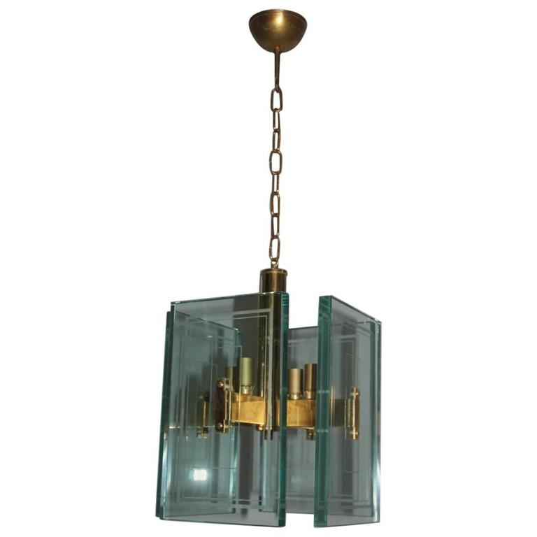 Chandelier Large Sheets of Glass Worked 1950s Lantern