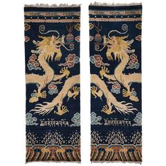 Hand-Knotted Wool, Pair of Dragon Temple Pillar Rugs or Carpets Chinoiserie