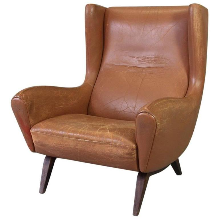 Brown Leather Lounge Chair by Illum Wikkelsø