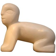 """""""Baby on All Fours"""" Alabaster Sculpture"""