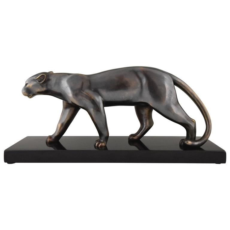 French Art Deco Sculpture of a Walking Panther, Emile Louis Bracquemond, 1930