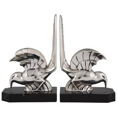 French Art Deco Silvered Bird Bookends by F.H. Danvin, 1930