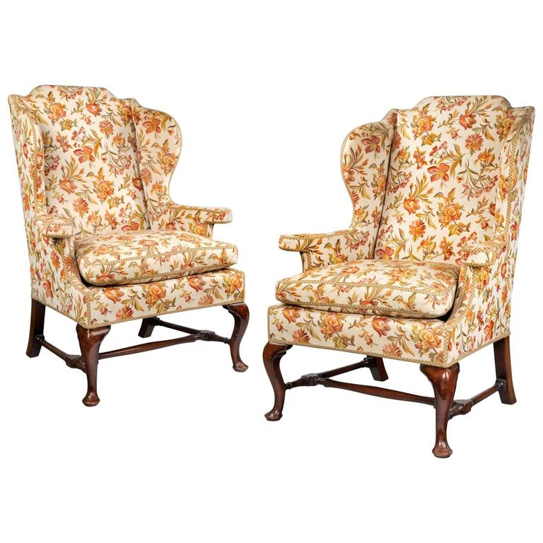 Large Pair of George II Style Wing Armchairs